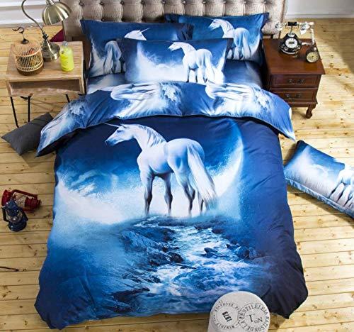 HDBUJ beddengoed van polyester, witte paarden onder de maan, 3D-bedrukt, 2 bijpassende kussenslopen, blauw