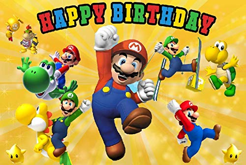 Cartoon Superman Mario Happy Birthday Theme Photogrpahy Backdrops 5x3ft Children Boys or Girl 1st Birthday Party Photo Background Newborn Baby Shower Banner Candy Cake Table Decor