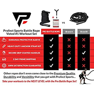 """Pro Battle Ropes with Anchor Strap Kit – Upgraded Durable Protective Sleeve – 100% Poly Dacron Heavy Battle Rope for Strength Training, Cardio Workout, Crossfit, Fitness Exercise Rope (2"""" x 30 ft)"""