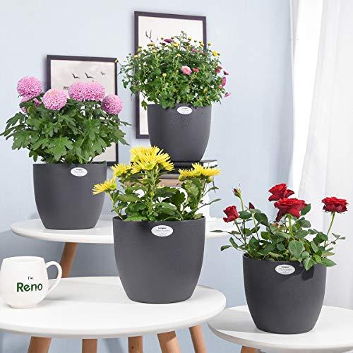 Sungmor Jardinera de riego automático - Macetas de plástico de 22,5 cm y 4 Piezas - Macetas de Plantas Decorativas Coloridas para jardín