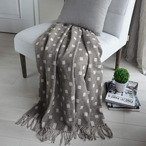 Linen & Cotton Manta Plaid para Sofá/Cama Emma de 100% Pura Lana Merina (140 x 200cm, Gris/Crudo)