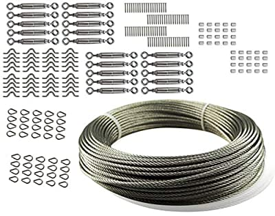 Muzata 20 Pack Heavy Duty Stainless Steel Cable Railing Kits and Stainless Aircraft Steel Wire Rope Cable for Railing,Decking, DIY Balustrade, 1/8Inch,7x7,165Feet