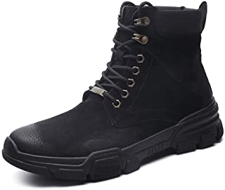 SHENTIANWEI Retro Ankle Boots for Men Combat Boot Lace up Genuine Leather Round Toe Platform Contrast Collar Anti-Slip (Fleece Inside Optional (Color : Black, Size : 6.5 UK)