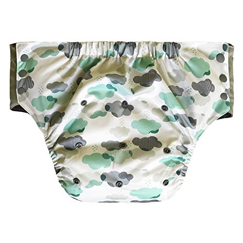 Pull On Cloth Diaper with Tabs - Special Needs Briefs for Big Kids, Teens or Small Adults (Youth, Cloud)