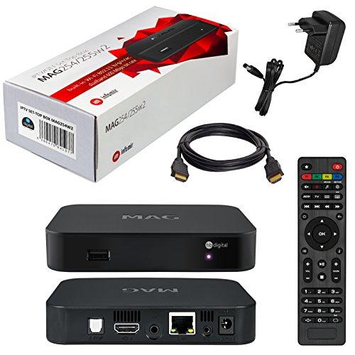 MAG 254w2 Original Infomir / HB-DIGITAL IPTV SET TOP BOX mit WLAN (WiFi) integriert bis zu 600Mbps (802.11 b/g/n/ac dualband) Streamer Multimedia Player Internet TV IP Receiver + HB Digital HDMI Kabel