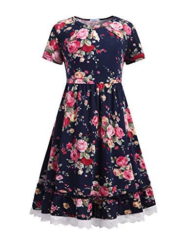 Bricnat Mädchen festlich Kleid Mädchen Kleid Blumen Kleid A Linie Retro Gedruckt Schlittschuhläufer Kleider O-Ausschnitt Kurze Ärmel Frühling Sommer Kleid 4-13 Jahre