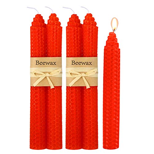 Nuanchu 4 Pieces 7.8 Inch Beeswax Handmade Taper Candles Smokeless Dripless Honeycomb Candles Long Rod Skinny Candles (Red)