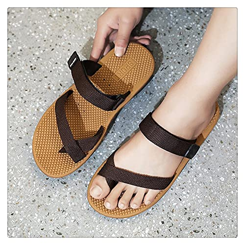 NMJKH Moda Hombre Chanclas Verano Antideslizante Zapatos de playa Correas Hombres Zapatillas Zapatillas de playa al aire libre (Color : Brown, Size : 44yards)