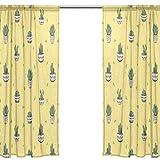 Orediy Vorhang aus Voile, transparent, 2 Paneele, Sukkulenten und Kakteen 40 % Verdunkelungsstange, lange Gardine, Fensterbehandlung, Schlafzimmer, Wohnzimmer, 2* 140W x 213 H