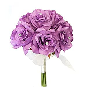 Angel Isabella 8″ Wedding Bridal Rose Bouquet – One Dozen Roses with Rhinestone – Artificial Flower Bridesmaid Toss (Lilac(White Ribbon))