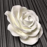 "Exquisite Rose Sugar Flower (sold individually) - Gumpaste Cake Topper - White by Fondant Flowers (3.5"" White)"