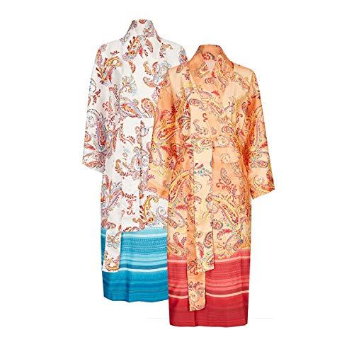 Bassetti Kimono de algodón, Naranja, L-XL