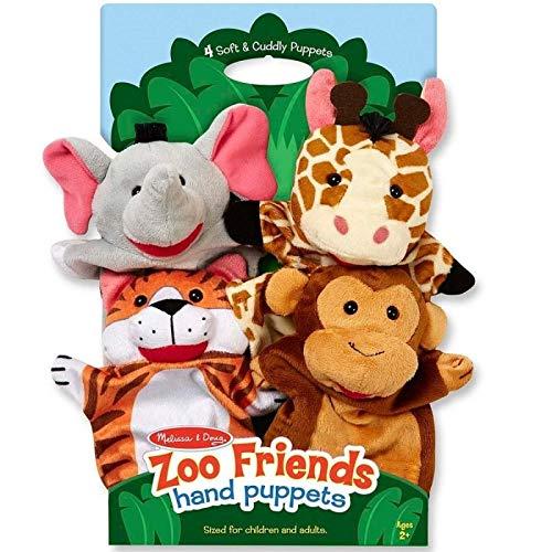 Melissa and Doug - 4 Marionnettes à Main Animaux Safari Velours Jouet pour Enfants à partir de 2 Ans