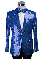 Royal Blue/B Splendid Sequins Lapel Tuxedo Jacket