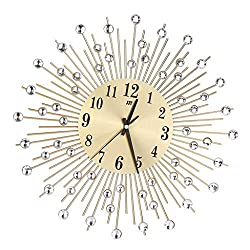 Wall Clock Silent Non Ticking Metal Wall Clock Wall Clock Star Burst Sunburst Diamonds Decor with Minute Hand Clocks for Living Room Decor (Color : Gold)