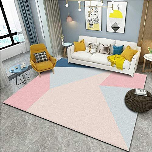 Kids Carpets For In Bedroom Geometric children's breathable easy-care carpet bedroom living room Large Carpets For Living Room Boys Rugs For Bedroom pink 140X200CM