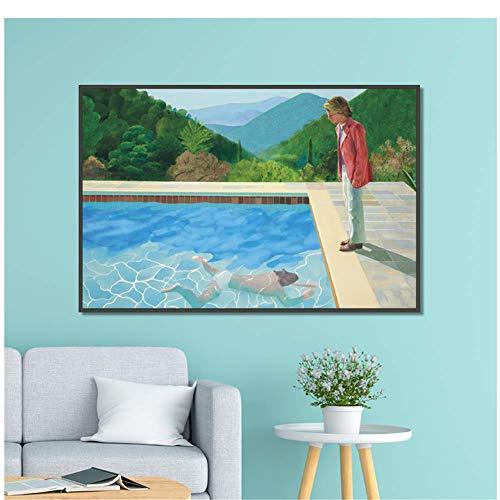 NRRTBWDHL David hockney Pool mit Zwei Figuren leinwand wohnkultur Wand Poster und drucke Kunst Bild Wohnzimmer drucke -60x80cm no Frame