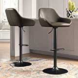 Glitzhome Mid Century Style Adjustable Swivel Bar Stool with Back Support Dining Chairs Dark Gray Set of 2
