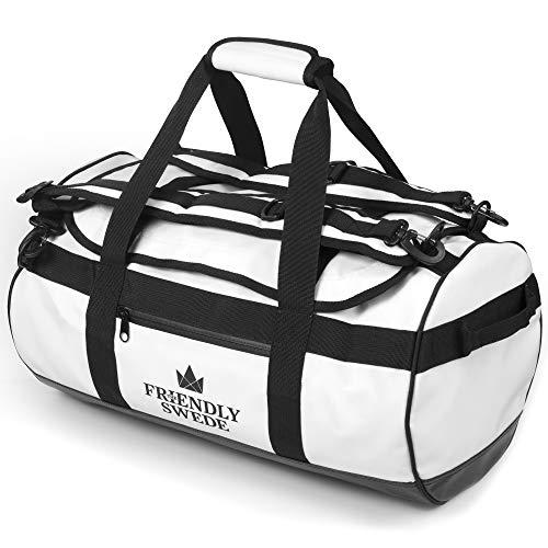 The Friendly Swede Wasserfeste Reisetasche Duffle Bag Rucksack - 30L / 60L / 90L - Seesack, Sporttasche Duffel Dry Bag mit Rucksackfunktion - SANDHAMN (Weiß, 30L)