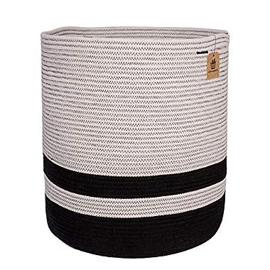 INDRESSME Goodpick Large Cotton Rope Basket - Woven Storage Basket - Floor Basket with Handle for Baby Nursery Decor Bin Laundry Basket Blanket Hamper Toys Basket, 18.1'' ×16.1''