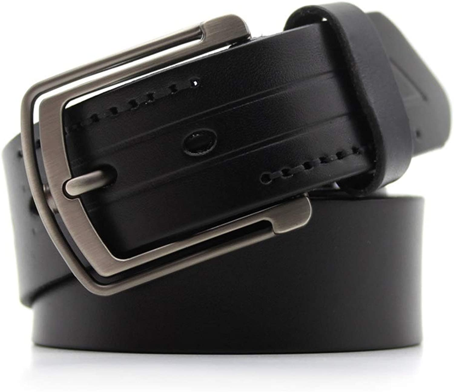 Men's Belt Genuine Leather Male Belt Leisure Stainless Steel Pin Buckle (color   Black, Size   M)