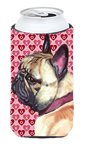 Caroline's Treasures LH9566TBC French Bulldog Frenchie Hearts Love and Valentine's Day Tall Boy Beverage Insulator Hugger, Tall Boy, multicolor