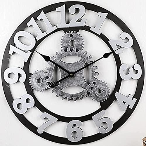 Reloj De Pared Vintage 3d, Reloj De Pared Industrial Grande, Silencioso, Sin Tictac, Con Pilas, NúMeros Romanos Antiguos, Relojes Modernos Redondos Para DecoracióN De Sala De Estar,...