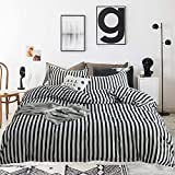 Wellboo Striped Duvet Cover Black and White Cotton Bedding Covers Sets Twin Teens Women Men Vertical Stripe Bedding Sets Black Striped Quilt Covers Zebra Lines Soft Hotel Luxury Duvet Covers Health