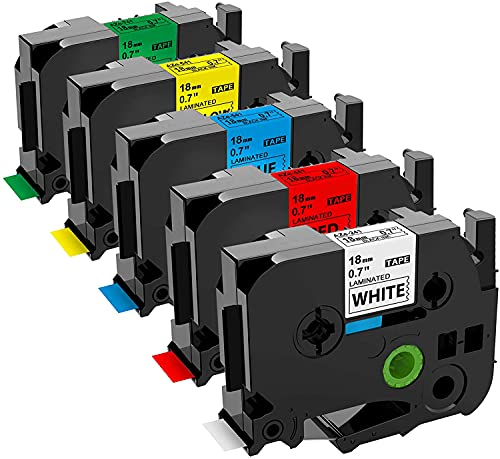 Buyalot Compatible Label Tape Replacement for Brother Ptouch TZe 18mm 0.7 Inch TZe241 TZe441 TZe541 TZe641 TZe741 Label Maker Tape (White/Red/Blue/Yellow/Green) Compatible with Brother PTP700 PTD400AD