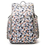 ECOSUSI Diaper Backpack Fully-opened Baby Diaper Bag Travel Nappy Bag with Changing Pad, Insulated Pockets, Orange (Upgraded)