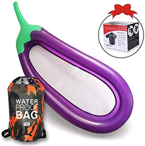 DALUXE Aubergine Schwimmen Ring, Erwachsene Kinderliege Schwimm Boot, Haushalt Dual-use-elektrische Pumpe, 43in, auslaufsicher PVC, DREI Personen, hochbelastbaren, Outdoor, Pool beh.