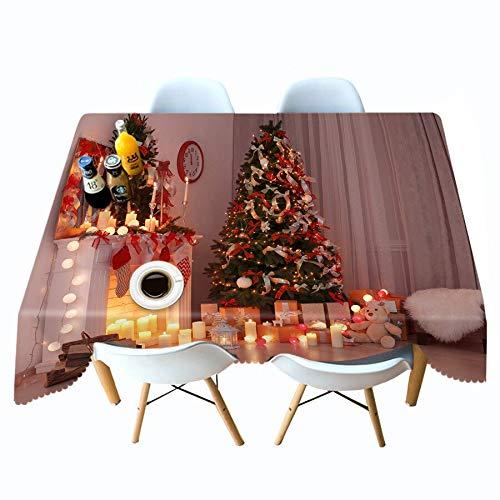 XXDD Mantel 3D Calcetines de árbol de Navidad Dorados y patrón de Alces Mantel Rectangular Toalla Cubierta de algodón Mantel Impermeable A5 140x160cm
