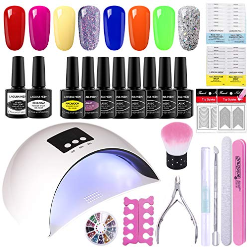 Lagunamoon Gel Nail Polish Set,Spring Summer Colours with Base Glossy Matte Top Coat,Prep & Wipe,Gel Nail Cleanser Remover,LED UV Nail Lamp and More