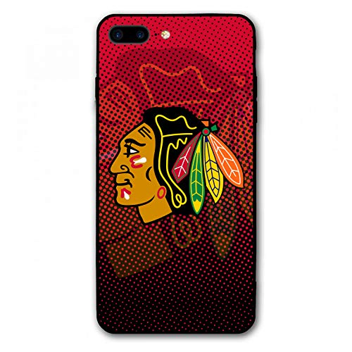 iPhone 7 Plus Hülle, iPhone 8 Plus Hülle, Hockey Team Silikon Bumper Rahmen und PC Back Cover Case für iPhone 7/8 Plus 14 cm (5,5 Zoll), Apple iPhone 8 Plus, Blackhawks-CHI