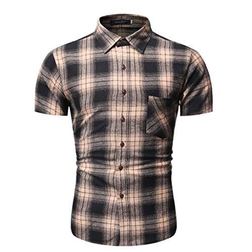 Yowablo Chemise Hawaïenne Hommes Manches Courtes Chemisier d'été décontracté à Carreaux boutonné Poches à Manches Courtes T-Shirt Haut (XL,1Beige)
