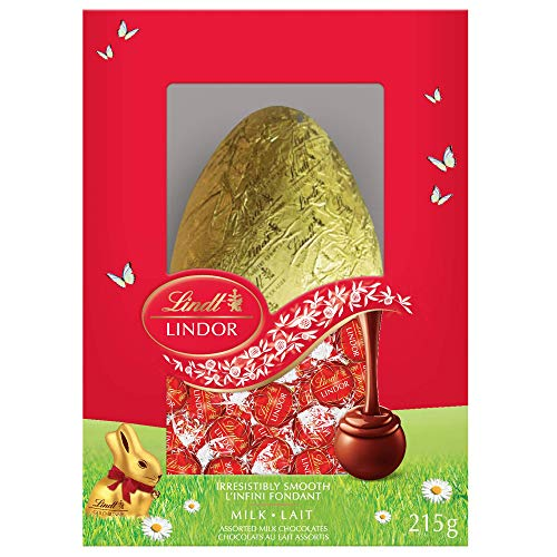 Lindt Lindor Milk Chocolate Easter Egg Gift Box, 215g, Contains 1 Lindt Milk Chocolate Hollow Egg and Lindor Milk Truffle...