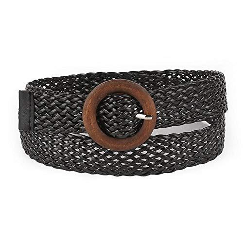 Quiet.T Cinturón Trenzado Retro Calado para Damas Diseño De Moda Cinturón Transpirable, Hebilla Redonda De Madera Natural (Estilo Bohemio, 2 Modelos)
