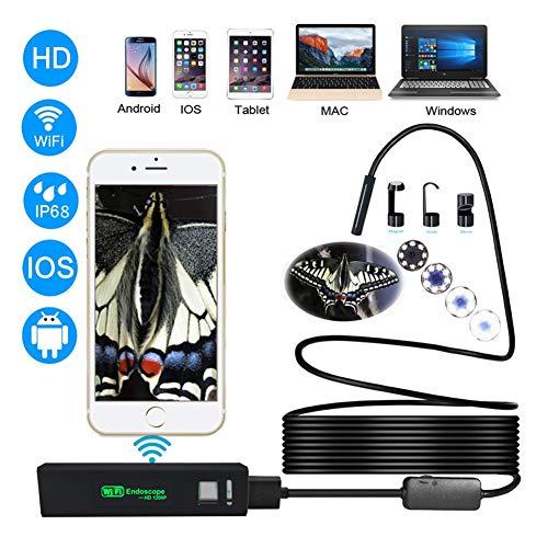 Endoscopio Wifi Telecamera Di Ispezione Wireless, 1200P USB Borescope Impermeabile IP68 Con Cavo Semirigido 5M (16,4FT), Compatibile Con IOS, Android, Windows, Mac,5m
