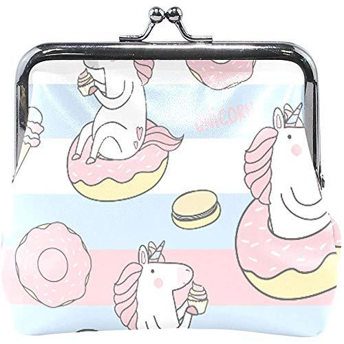 Brieftasche Einhorn Muster Donut EIS Kuchen Torte Geldbörse Beutel Leder Wechselhalter Karte Clutch Handtasche