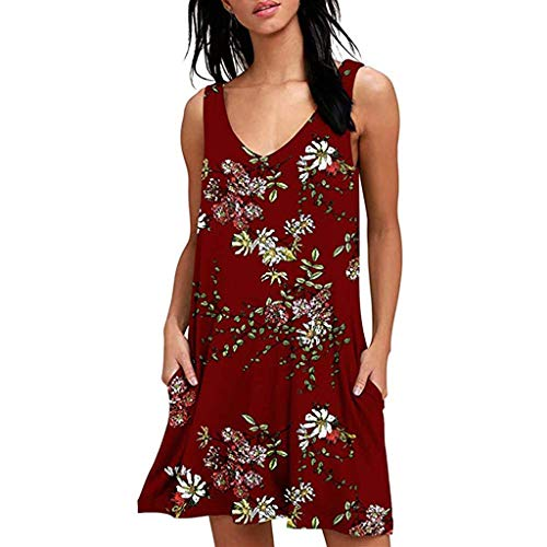 Lowest Price! Palalibin Women's Summer Sundress Floral Printed Sleeveless Casual A Line Dress(XL,Win...