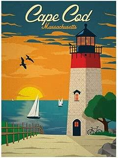 JR Studio 3x4 inch Vintage Art Cape COD Massachusetts Sticker - ma rv Beach Visit Travel Vinyl Decal Sticker Car Waterproof Car Decal Bumper Sticker