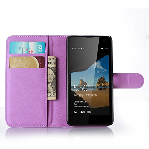 Tasche für Nokia Microsoft Lumia 550 Hülle, Ycloud PU Ledertasche Flip Cover Wallet Hülle Handyhülle mit Stand Function Credit Card Slots Bookstyle Purse Design lila