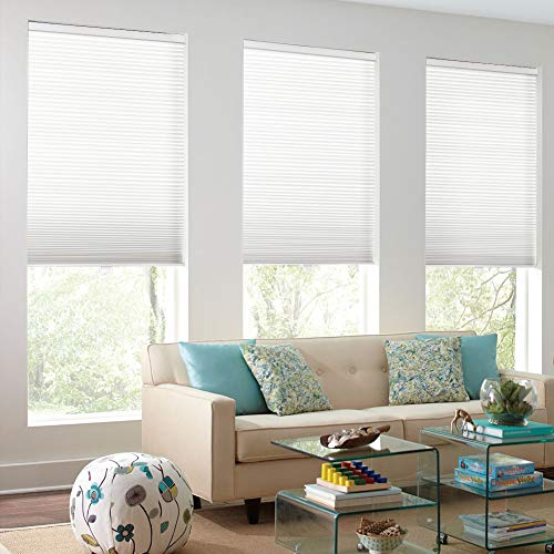 MiLin Cordless Light Filtering Cellular Shades, One Week Fast Delivery, Window Blinds and Shades Custom Cut to Size, Single Cell Honeycomb Shades - Glacier White 33