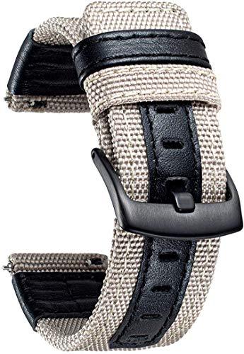 YGRY Correa de Reloj para Reloj Inteligente, Nylon Lona Cuero Watch Strap 20 mm 22 mm Pulseras de Repuesto Liberación Rápida Replacement Correa para Hombre y Mujer (22 mm, Caqui)