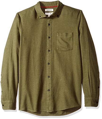 Amazon Brand - Goodthreads Men's Standard-Fit Long-Sleeve Heather Flannel Shirt, Olive, X-Large