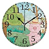 Reloj de Pared Cerdo Rosado Lindo Campo al Aire Libre Árbol Montaña Reloj Redondo de acrílico Números Negros Reloj sin tictac