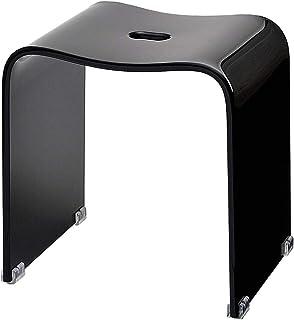 クーアイ(Kuai) アクリル バスチェア 風呂椅子 単品 Lサイズ 高さ35cm(ブラック)