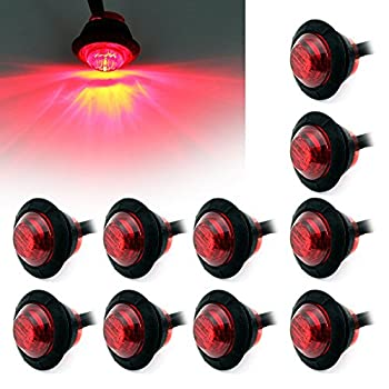 Purishion 10x 3/4   Round LED Clearence Light Front Rear Side Marker Indicators Light for Truck Car Bus Trailer Van Caravan Boat Taillight Brake Stop Lamp 12V  Red …
