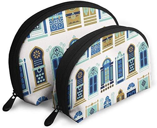 Ches Shell Lot de 2 sacs à fermeture Éclair portables, convient pour cosmétiques, sacs à main/sacs à main, accorions, portes marocaines Bleu et doré