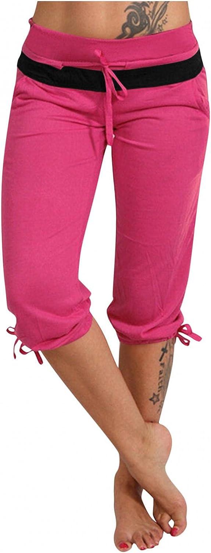 LEIYAN Womens Flat Front Shorts Casual Drawstring Slim Fit Straight Leg Yoga Shorts Summer Bermuda Beach Surfing Shorts